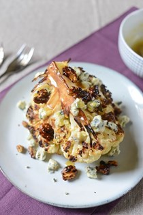 Roasted cauliflower wedge with blue cheese and caramelized walnuts