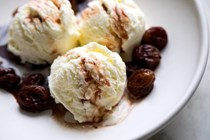 Roasted grapes with caramelized wine and yogurt ice cream