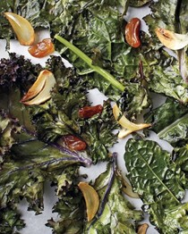 Roasted kale, golden raisins, and garlic