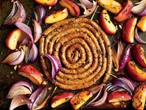 Roasted merguez sausage with apples and onions