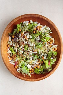 Roasted parsnip salad with hazelnuts, blue cheese, and wheat beer vinaigrette (Pastinakensalat)