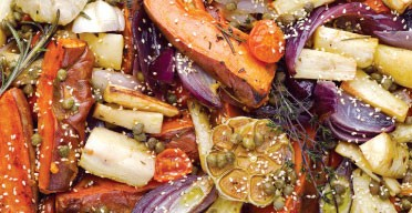 Roasted parsnips and sweet potatoes with caper vinaigrette