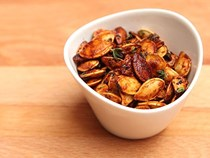 Roasted pumpkin seeds with honey mustard and thyme