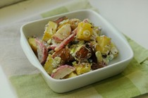 Roasted radish and potato salad with black mustard and cumin seeds