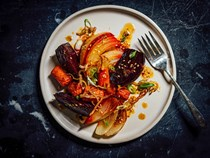 Roasted root vegetables with sweet lime dressing