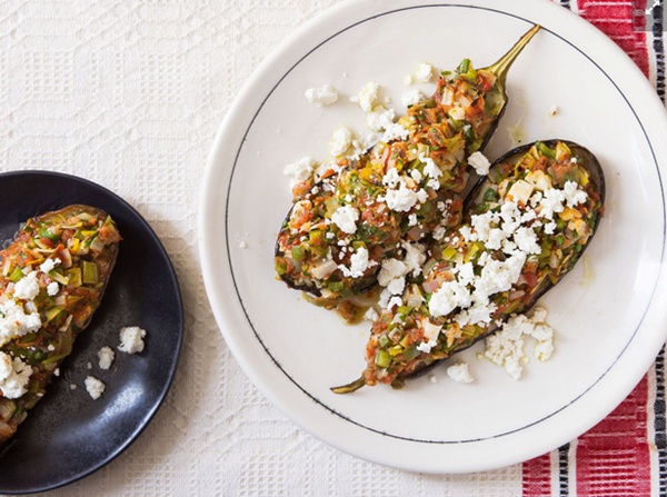 Roasted stuffed eggplant (Imam bayildi) (page 34)