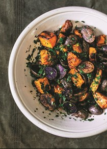 Roasted sweet & purple potatoes with green chili-cilantro chimichurri