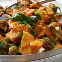 Roasted sweet potato salad with red pepper vinaigrette