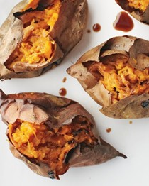 Roasted sweet potatoes and soy sauce