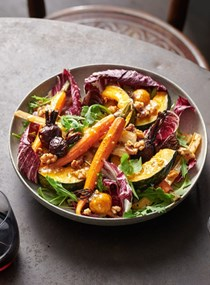 Roasted vege salad with mustard dressing
