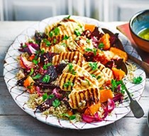Roasted vegetable quinoa salad with griddled halloumi