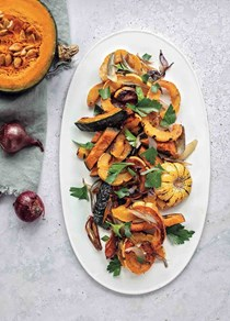 Roasted winter squash and shallots