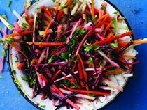 Root vegetable slaw with labneh