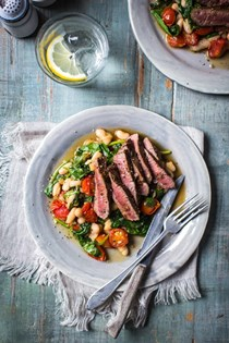 Rosemary lamb steaks with quick bean stew