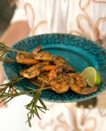 Rosemary-skewered shrimp marinated in chipotle