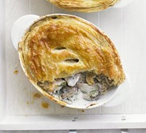 Russian chicken, mushroom, soured cream and dill pie