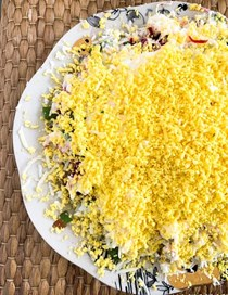 Russian mimosa salad with a twist