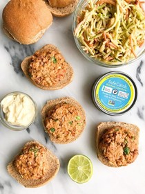 Safe catch spicy Thai tuna burgers with crunchy peanut slaw