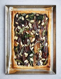 Sage and shallot tart, kale and cobnut