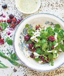 Salad of chicken, cherries and watercress with creamy tarragon dressing