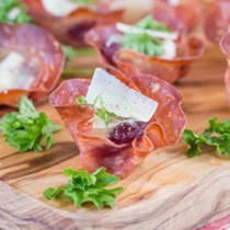 Salami canapé cases with Parmigiano Reggiano
