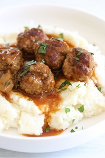 Salisbury steak meatballs (Instant Pot, stove top, slow cooker)