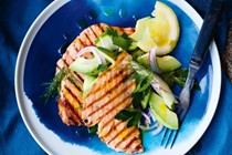 Salmon escalopes with dill & avocado salad