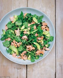 Salmon escalopes with watercress, sugar snaps, and avocado