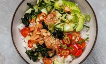 Salmon poké [rice bowl]