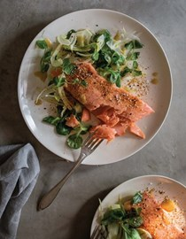Salmon with miso-fennel salad