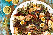 Salmon with Moroccan quinoa & quail eggs