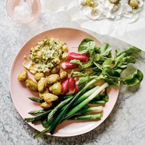 Salt-baked Jersey Royals with asparagus, leeks, radishes and sauce gribiche