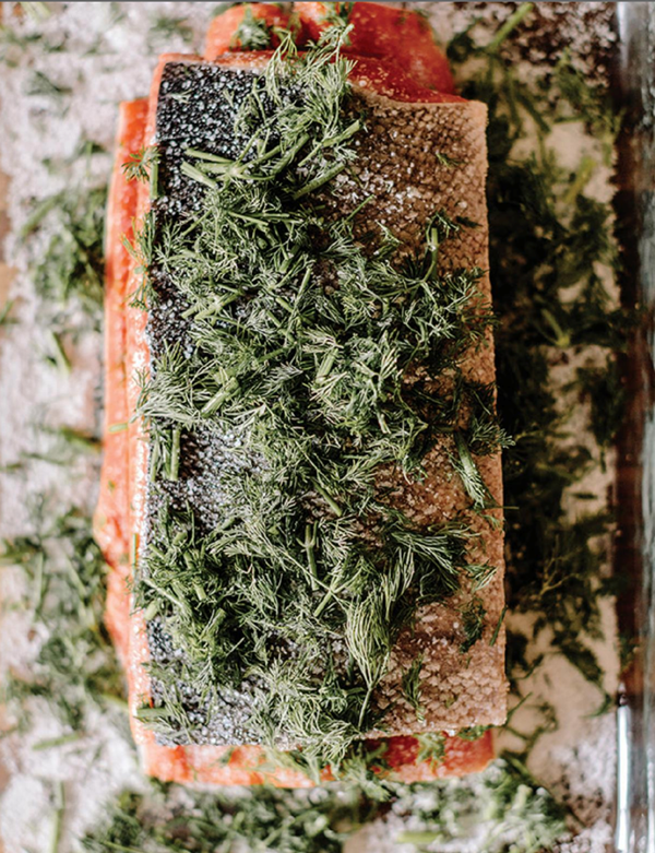 Salt, sugar, and dill-cured salmon