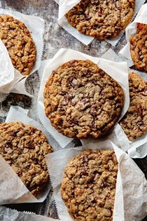 Salted dark chocolate chip and roasted pecan cookies