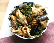 Sambal eggplant with oyster mushrooms and spinach