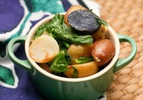 Sautéed Hakurei turnips with their greens and potatoes