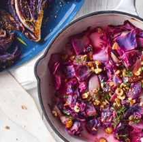 Sautéed red cabbage with shallots & hazelnuts