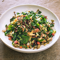 Sautéed Swiss chard with pancetta and caramelized shallots