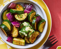 Sautéed zucchini & red onions with chive butter