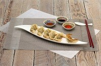 Scallop pot-sticker dumplings
