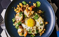 Scallops with chorizo, migas and fried egg