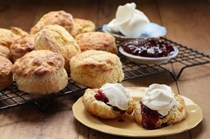 Scones with Maggie's raspberry & pomegranate jam