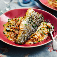 Sea bass with creamed crab and chilli spelt