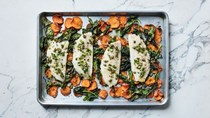 Sea bass with sweet potatoes, spinach, and salsa rustica
