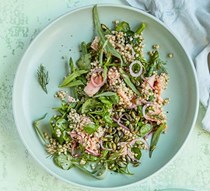 Sea trout and buckwheat salad with watercress and asparagus
