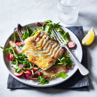 Seared cod loin with warm salad