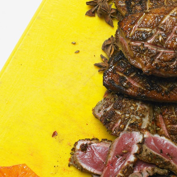 Seared duck breasts with blood orange and star anise