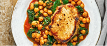 Seared pork loin with harissa chickpeas