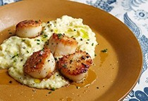Seared scallops and potato celery root purée