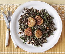 Seared scallops with citrus quinoa, herbs, and almonds